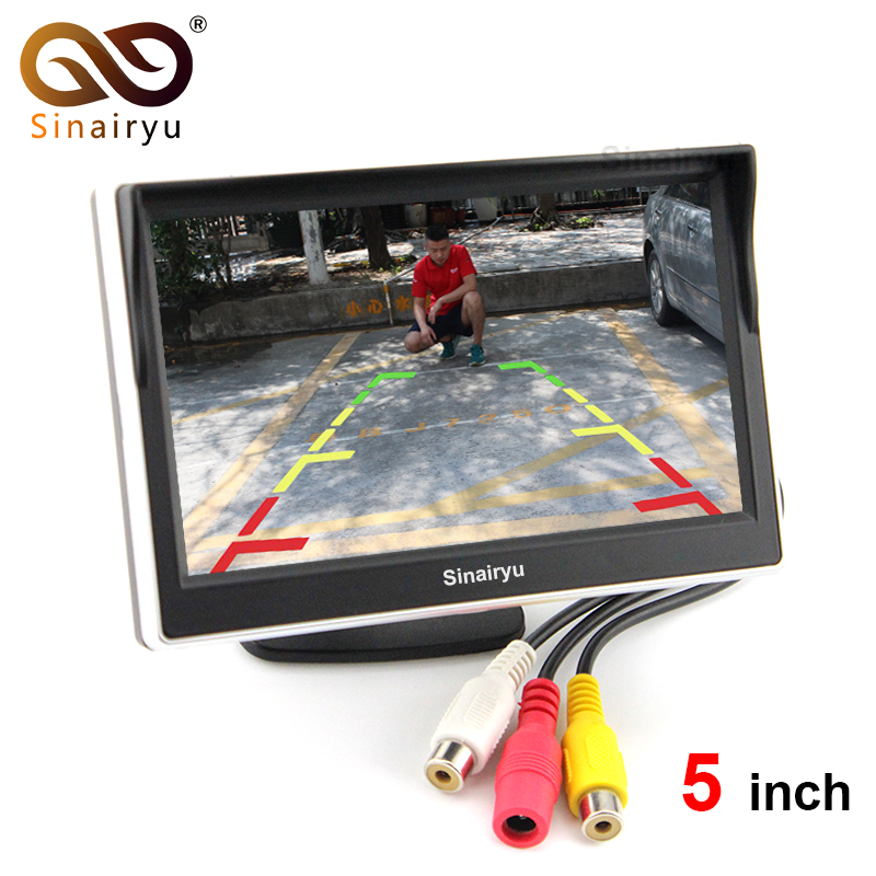 5 TFT LCD Car Rear View Mirror Monitor Parking Assistance With 2 RCA Video Player Input DC 12V Car Monitor For DVD Camera VCR
