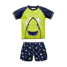 Одежда для купания для малышей; летний купальный костюм из 2 предметов с изображением животных для мальчиков; купальный костюм с изображением акулы; детский купальный костюм; пляжная одежда; купальный костюм с героями мультфильмов