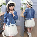 2017 Spring Fall Children's Fashion Suit Set of 4-13 Year-old Girl Lace Stitching denim Jacket+striped Dress Two-piece Suit
