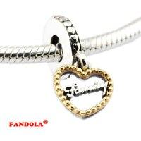 925 Sterling Silver Beads Loving Family Dangle Pendant Real 14K Gold Fits Pandora Charms Bracelet DIY
