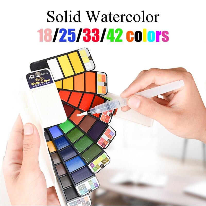 18/25/33/42 cores conjunto de aquarela sólida redemoinho água tinta cor água escova aguarela pigmento para desenhar fontes da arte