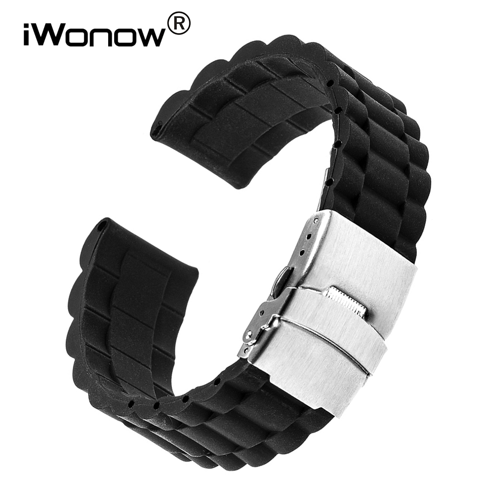 Silicone Rubber Watchband Steel Buckle Strap for Tissot Longines Mido Omega Watch Band Wrist Bracelet 17 18 19 20 21 22 23 24mm image