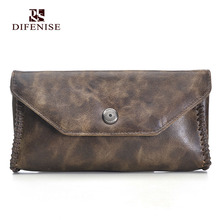 Difenise Vegetable Tanned Genuine Leather Men's Wallets the First Layer cowhide Leather Vintage fashion Style Love in Thread