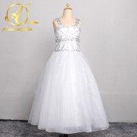 White Tiers Holy Communion Dress Beads Ball Gowns Flower Girl Dresses Custom Made Little Girls Pageant Dresses