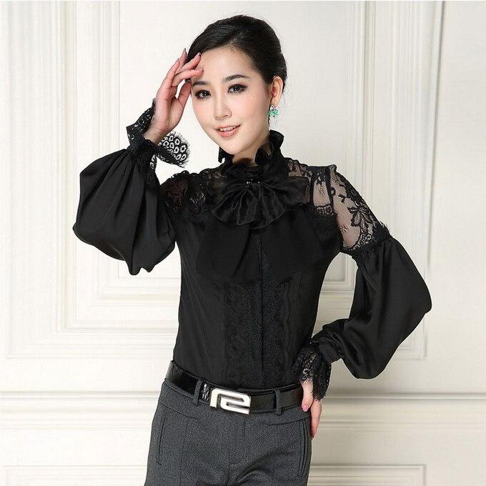 Design Unique! nouveauté femmes Blouses Sexy pure dentelle Patchwork élégant col à manches longues noir blanc chemise hauts bureau