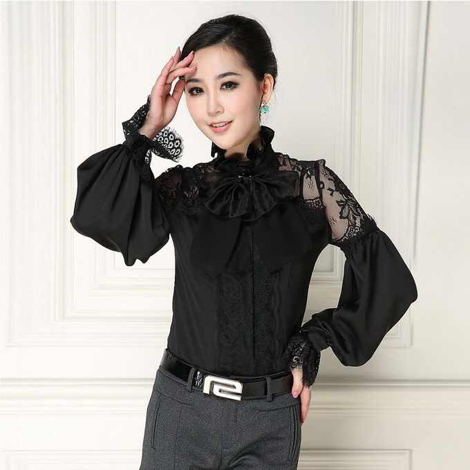 e4c18579f70a58 New Arrival Women Blouses Sexy Sheer Lace Patchwork Elegant Bow Collar Long  Sleeve