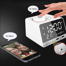 Digital Bluetooth Radio Alarm Clock Temperature Forecast USB Ports LED Display