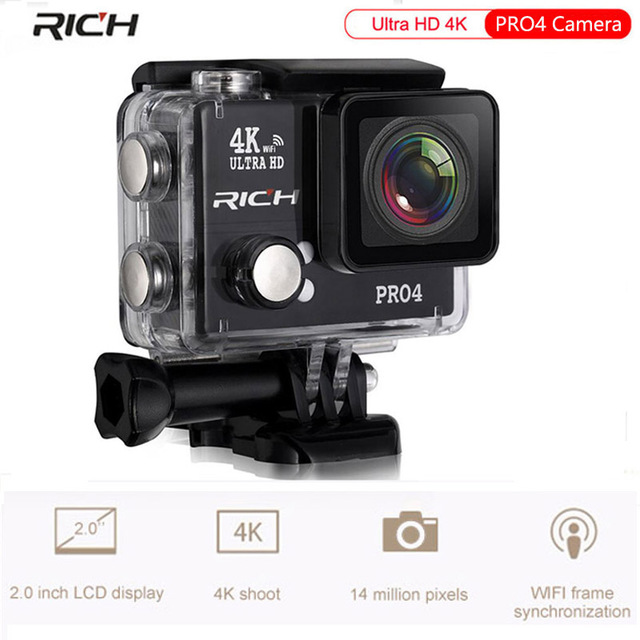 RICH Action Camera 4K wifi Ultra HD 4K/30FPS 1080P/60FPS 14MP Go Waterproof 30M Mini Cam Pro Bike Video Sports Camera eken h8 h8r ultra hd 4k 30fps wifi action camera 30m waterproof 12mp 1080p 60fps dvr underwater go helmet extreme pro sport cam