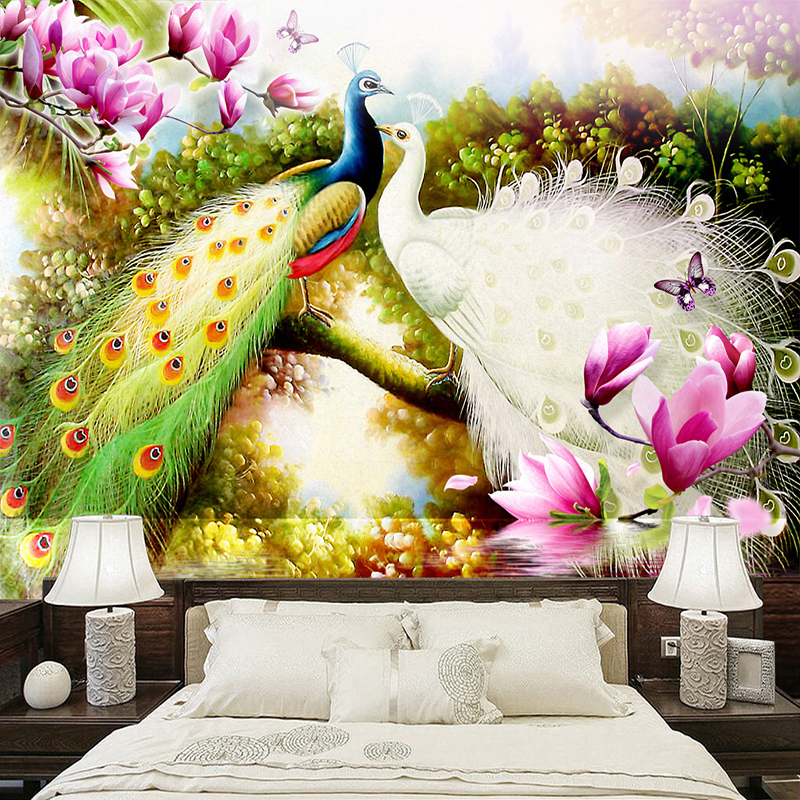 Custom 3D Wall Murals Wallpaper Hand Painted Flowers Birds Peacock Oil Painting Living Room Sofa TV Background Photo Wall Paper