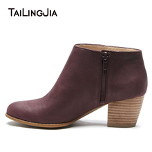 Comfortable Wine Red Woman Spring Fall Ankle Boots Block Mid Heel Side Zipper Round Toe Ladies Classical Cowboy Boots Wholesale block heeled round toe ankle boots