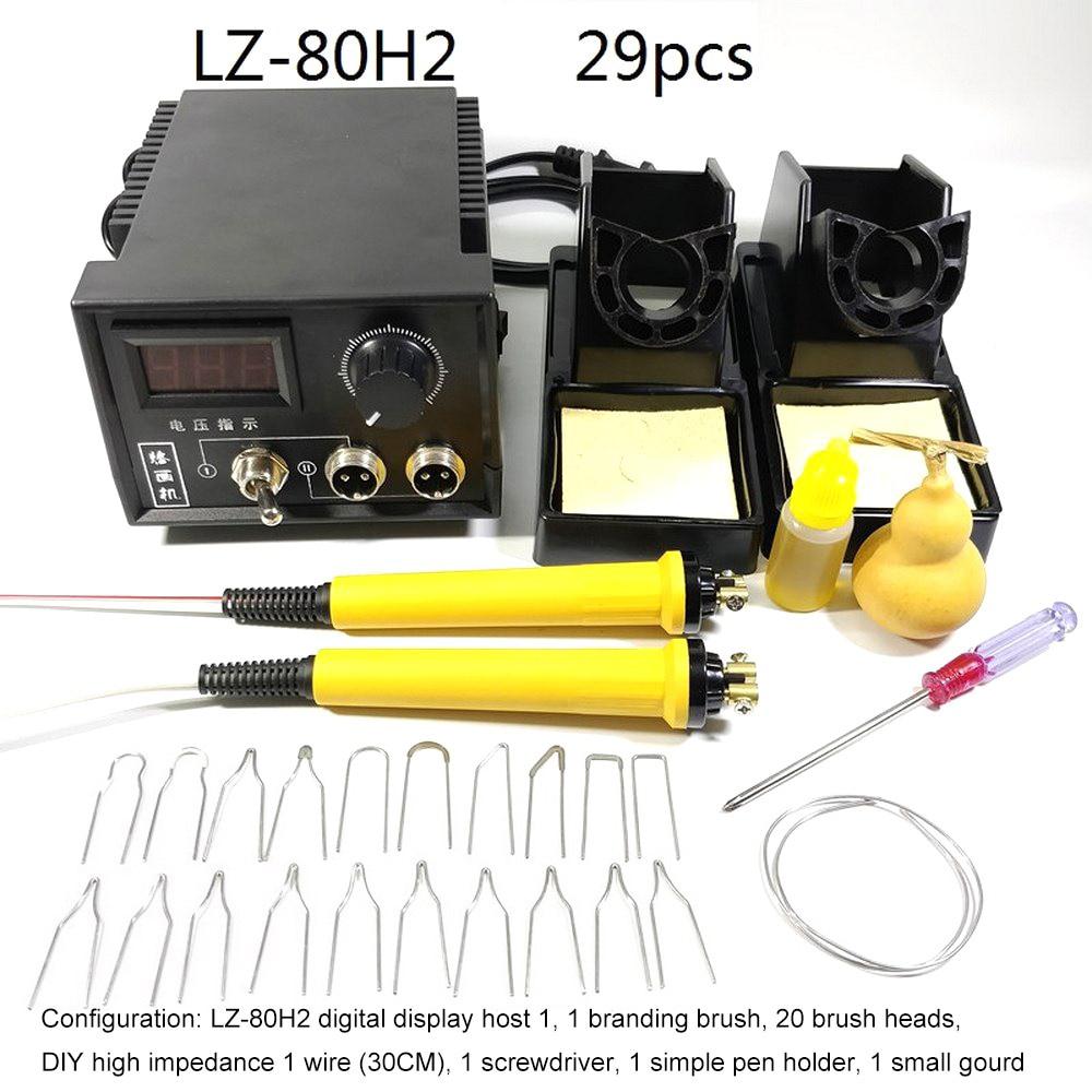 60W Wood Burning Soldering Irons Crafts Tools Pyrography Pen AC 220 Digital Display Machine Soldering Kit Set EU Plug