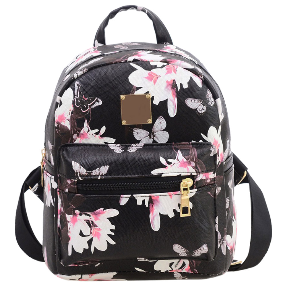 Fashion Floral Printing Women Leather Backpack School Bags for Teenage Girls Lady Travel Small Backpacks Mochila Feminina(China)