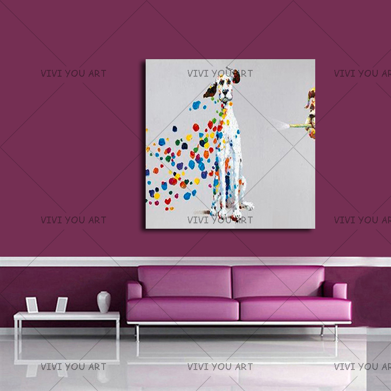 Oil Painting on Canvas 100% Handmade Animal Dog Wall Art For Living Room Decor Classical Colorful Dog Hand Painted Artwork