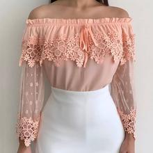 Elegant Orange Sexy Off Shoulder African Plus Size Vintage Blouse Women Slim Falbala Hollow Lace Retro Female Fashion Tops Shirt(China)
