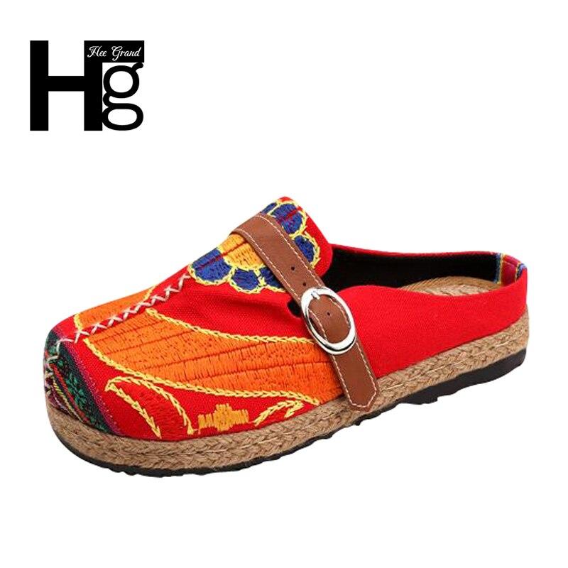 HEE GRAND Style Chinois Traditionnel des Femmes Plus Taille 36-40 Mocassins Unique Manuel Fleur Abstraite Plat Chaussures pour femme XWX6012