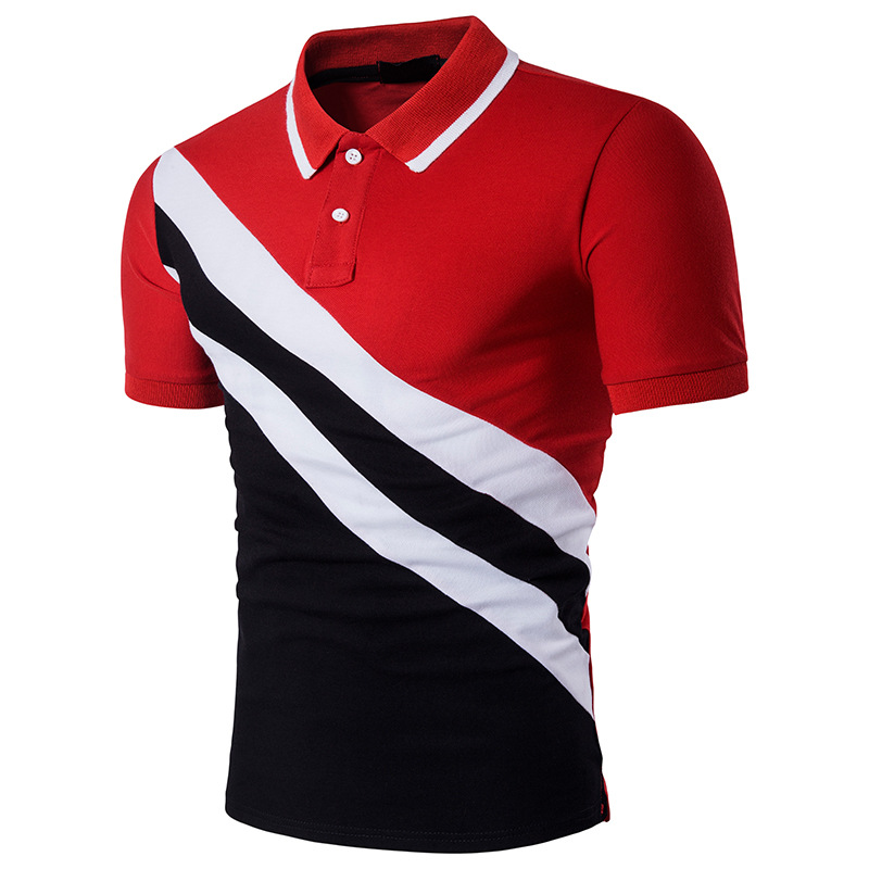 2019 Summer Tees Fashion Black Red Stripe Patchwork Casual Short Sleeve Men   Polo   Shirt Slim Men Social Soft Cotton   Polo   homme