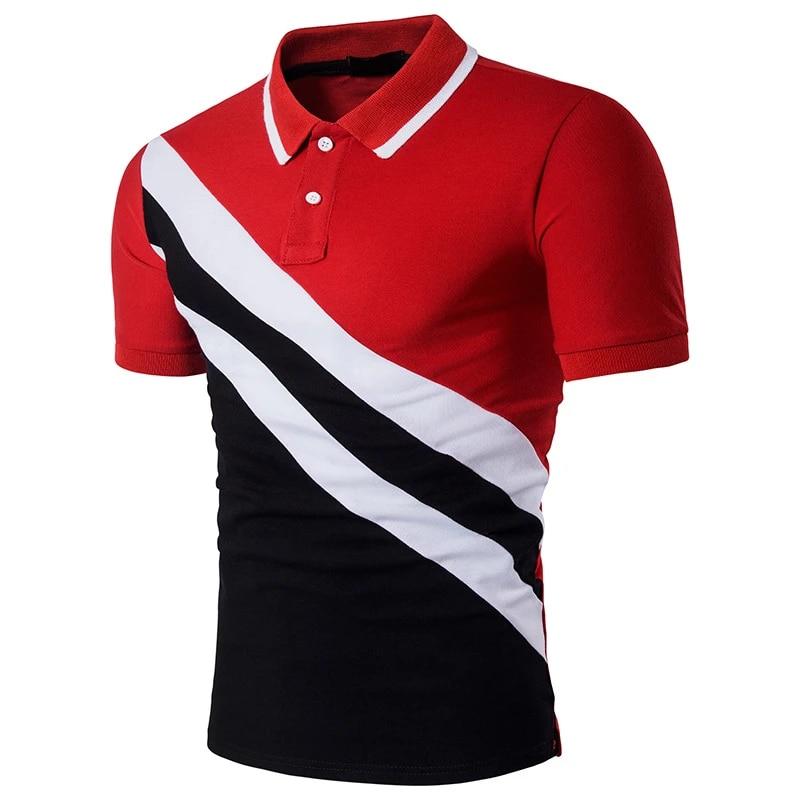 2020 Summer Tees Fashion Black Red Stripe Patchwork Casual Short Sleeve Men Polo Shirt Slim Men Social Soft Cotton Polo homme