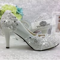 Crystal pearls lace flower wedding shoes woman ladies female HS292 bridal bride party proms dress princess pumps shoes handmade