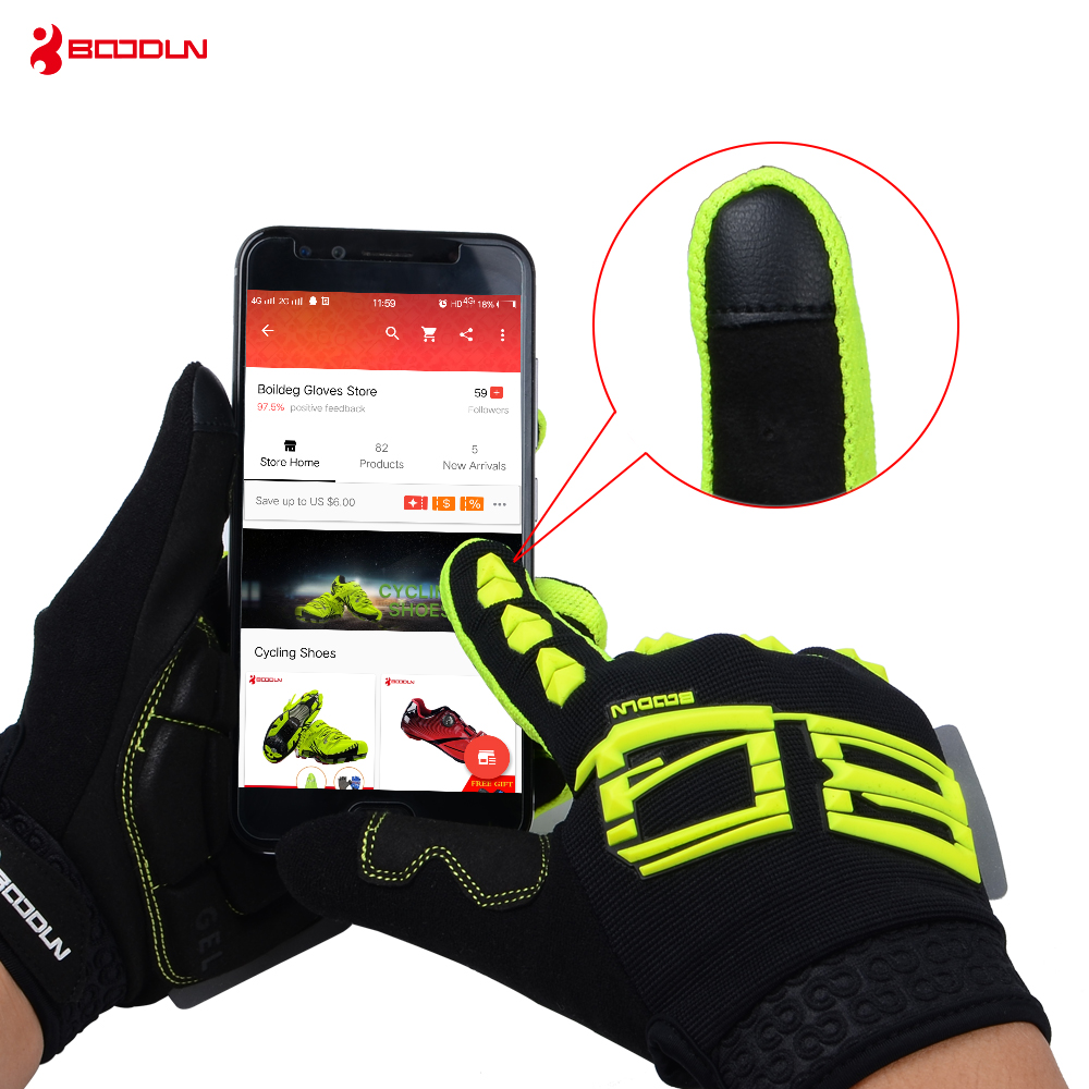 Boodun Winter Cycling Gloves Touch Screen GEL Bike Gloves Sport Shockproof MTB Road Full Finger Bicycle Glove For Men Woman high quality brand bike cycling gloves full finger men women gel touch screen road mountain bicycle racing gloves mtb glove