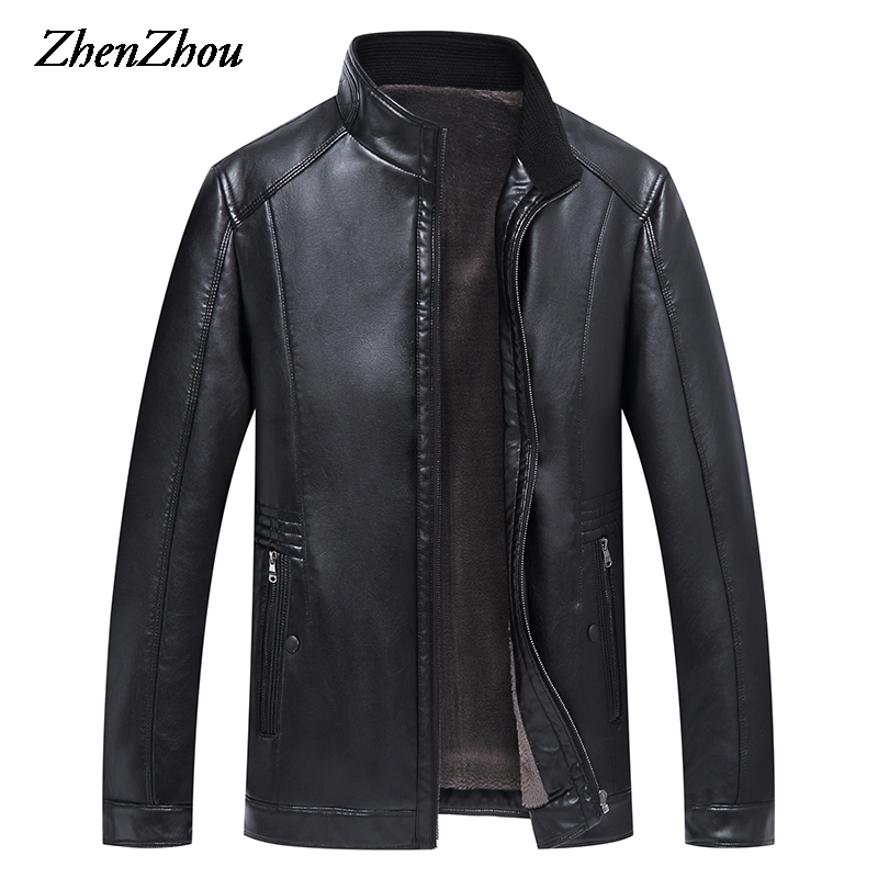 Business Leather Jacket Men Motorcycle Jacket Zipper 2017 Casual Warm Winter Solid PU Leather Jacket Male Stand Collar Plus Size hanqiu leather jacket men winter autumn pu faux leather solid jackets slim fit zipper pocket stand collar casual men jacket