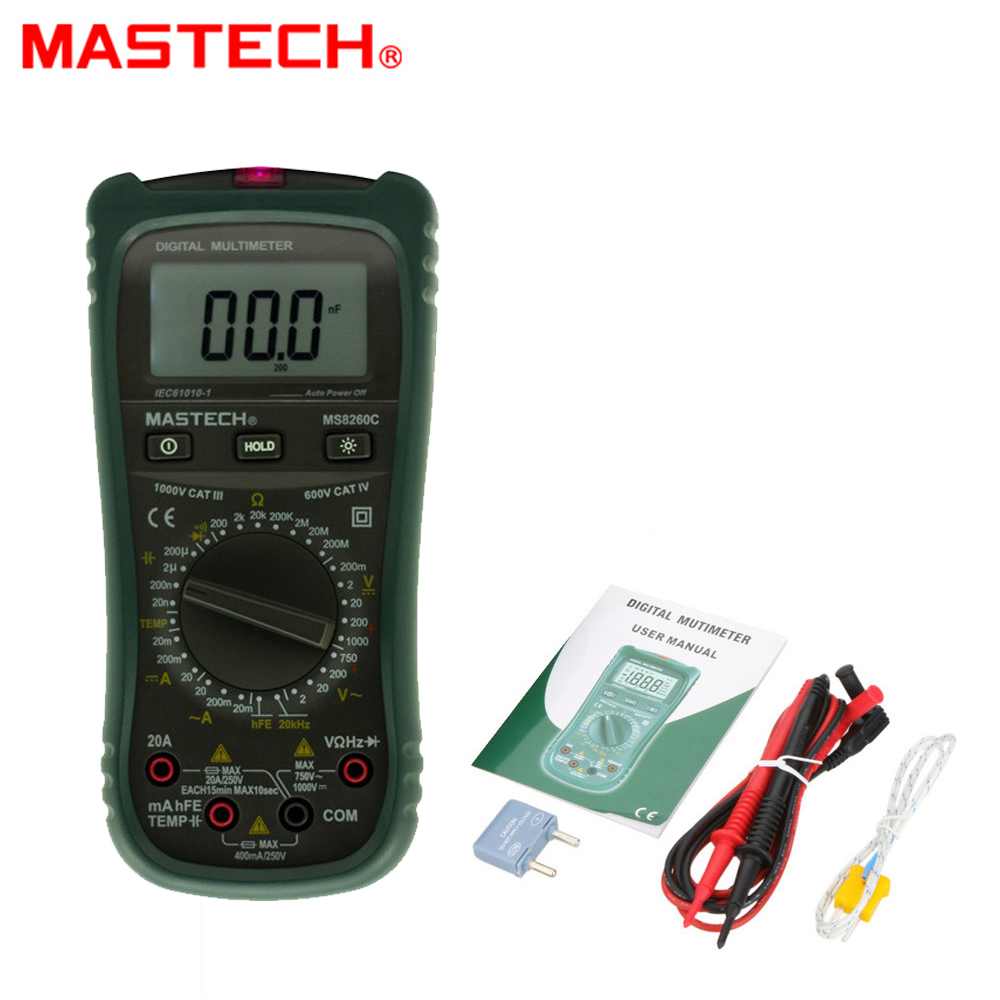 MASTECH MS8360C DMM HZ Temperature Meter Tester Capacitor w/hFE Test NCV Multimetro LCD Backlight tester Digital Multimeter my64 digital multimeter dmm frequency capacitance temperature professional meter tester w hfe test