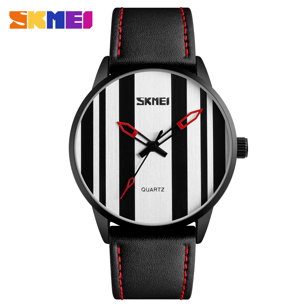 SKMEI Fashion Leather Quartz font b Watch b font Men Waterproof Wristwatch Business Waterproof Sports Quartz