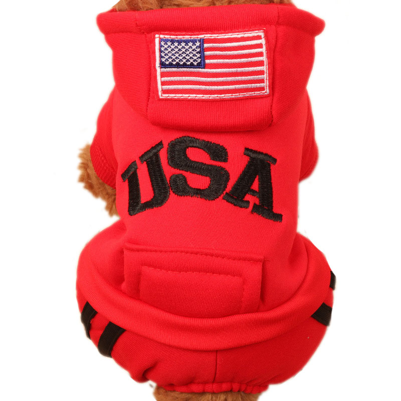 Sporting Puppy Pet Clothes for Small to Medium Dogs Autumn Winter Pet Cat Dog USA Coat Warm Fleece Hoodies Overalls Spot Stock
