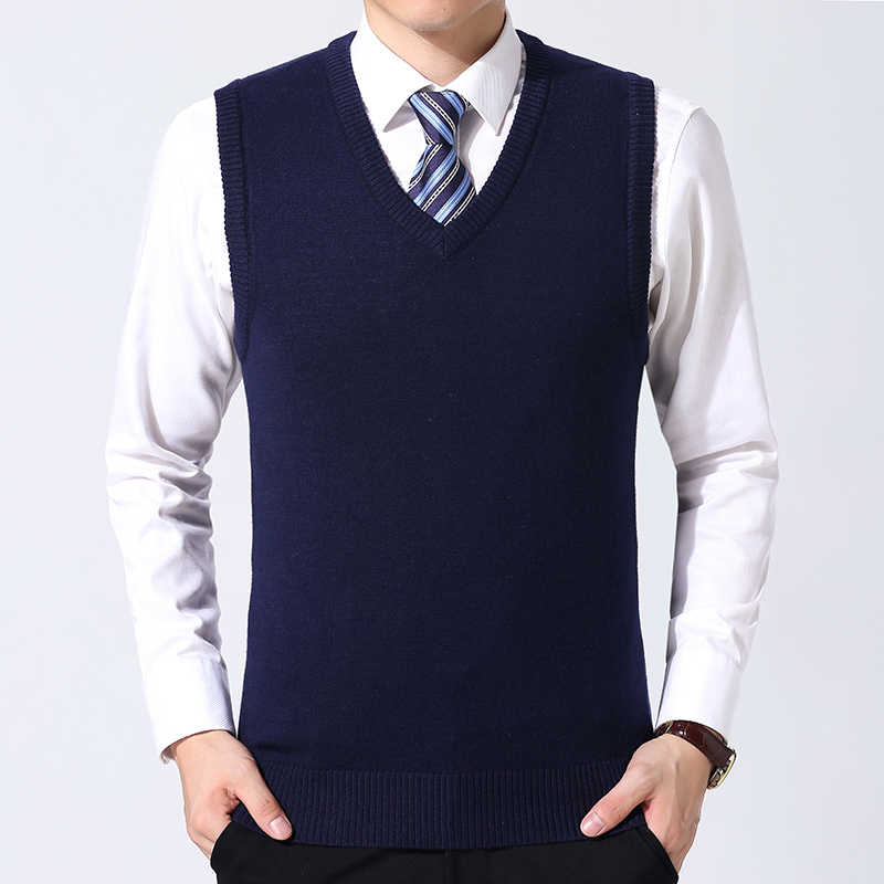 MoneRffi Sweater Men Clothes 2019 Autumn Winter Warm  Wool Pull Homme  Casual V-Neck Sleeveless Vest Sweaters
