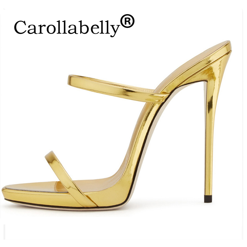 Carollabelly 2018 High Heels Sandals Women Ankle Strap Summer Dress Shoes Woman Open Toe Sandals Gold Women Shoes Wedding Shoes carollabelly sweet flower women pumps high heels lace platform pearls rhinestone wedding shoes bride dress shoes summer sandals