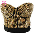 Burlesque cravado Stud Bra Corsage Sexy ladies ' Punk delírio Push Up Bras Discodance Club Party roupa interior das mulheres Lingerie Bralette