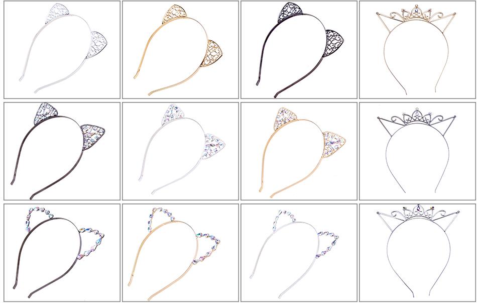 Bezel AWAYTR Novelty Kids Cat Ears Headband Bezel With EarCrystal Hairband Festival Hair Girls Crown Rhinestone Headdress 9