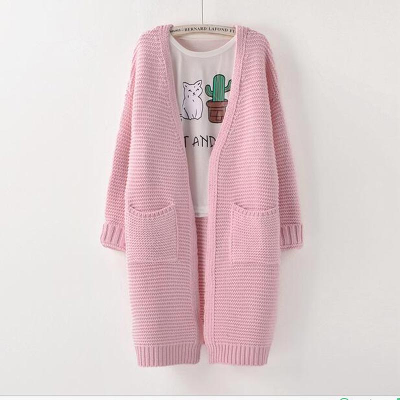 Girl Casual Long Knitted Cardigan 2017 Autumn Winter Women Twisted Flowers Solid Pocket Design Sweater Jacket Loose Cardigans