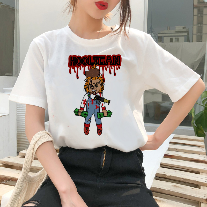 chucky t shirt Horror High cool women top Quality new streetwear tee t-shirt fashion ulzzang female shirts femme new tshirt 10