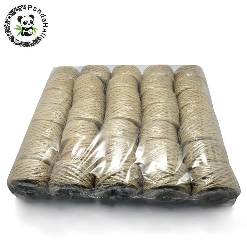 Ficelle de ficelle de corde de chanvre, 3 plis, pour la fabrication de bijoux, pérou, 3mm; 30 m/roll; 35 rouleaux/sac