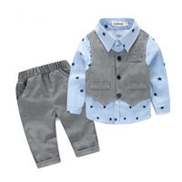 Baby Boy Clothes 2017 Autumn Kids Clothes Sets Vest Shirt Pants Suit Clothing Set Star Printed