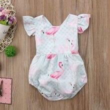 JOYINPARTY recién nacido bebé niña volantes mameluco Flamingo mono Braga ropa  de verano trajes ropa de bebé 1e6c5ada620f