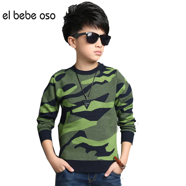 Boys Pullovers Camouflage Sweaters  Children Clothes High Quality 2016 Autumn/winter Warm Cartoon Kids Outerwear Tops XL661