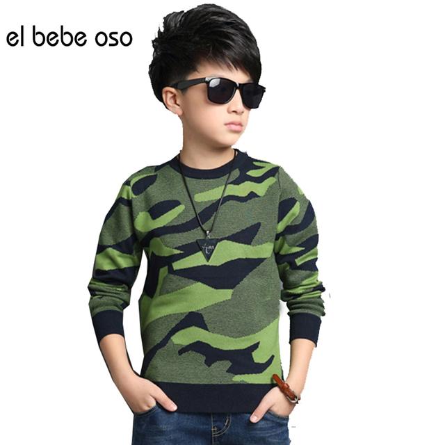 Meninos Camuflagem Pullovers Camisolas Crianças Roupas de Alta Qualidade 2016 Outono/inverno Quente Dos Desenhos Animados Crianças Tops Casacos XL661