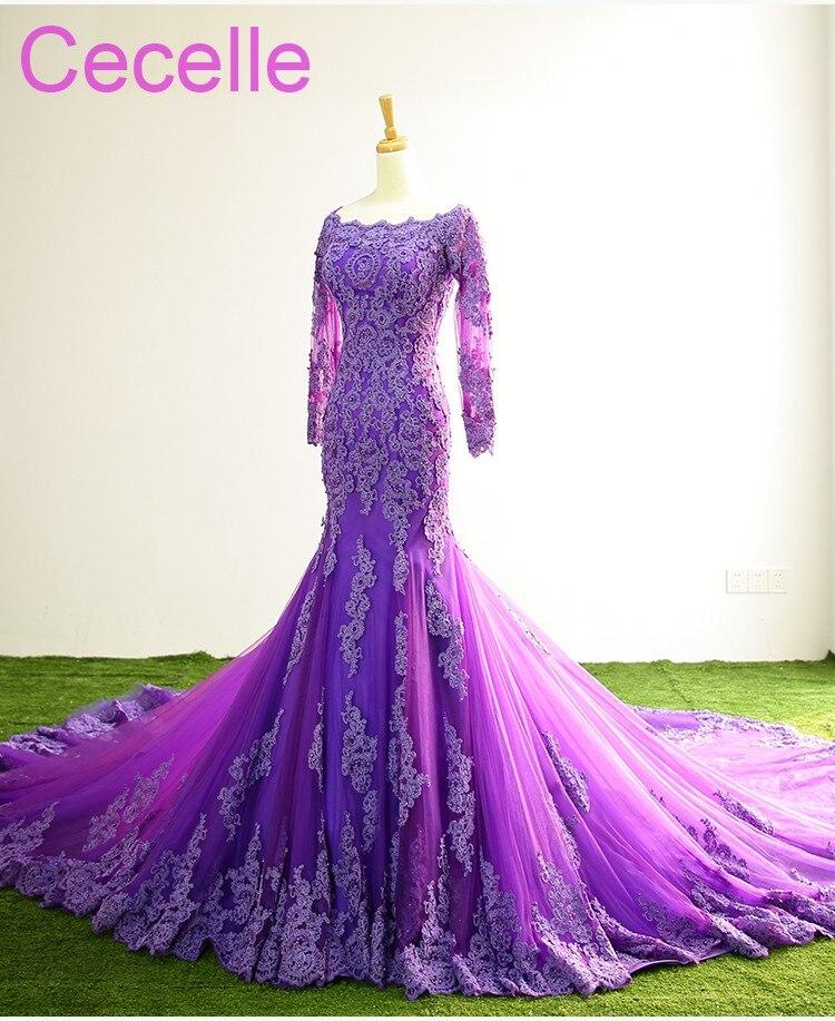 Purple Long Mermaid 2019 Prom Dresses With Long Sheer ...
