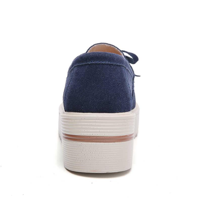 O16U 2018 ฤดูใบไม้ผลิผู้หญิงแบนรองเท้าหนังนิ่มหนังรองเท้าแตะ Loafers Slip บนรองเท้ารองเท้าแตะสุภาพสตรี Creepers