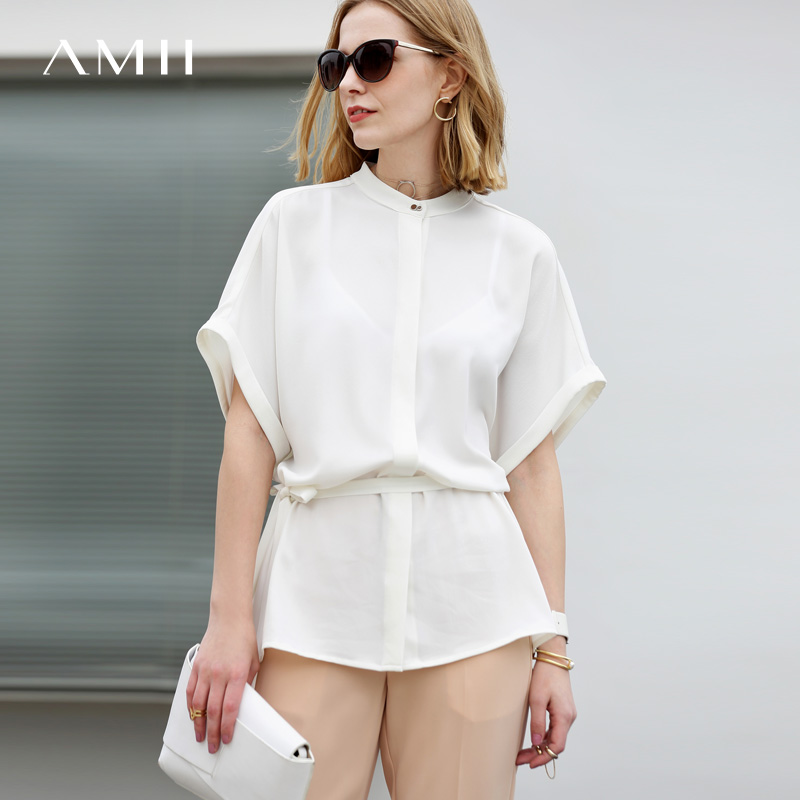 Amii Minimalist Women 2019 Summer   Blouse   Office Lady Plus Size Chiffon Batwing Sleeve Stand Collar Female   Blouses     Shirts