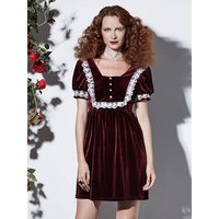 Women Gothic Velvet Dress Vintage Lace Sweet Peppy Style A Line Summer 2019 Elegant Party Lolita Princess Retro Short Dresses