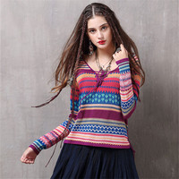 Vintage Sweater T shirt for women Autumn&Winter Colorful long sleeve V neck T shirt women High quality Ladies Pullover Tshirt