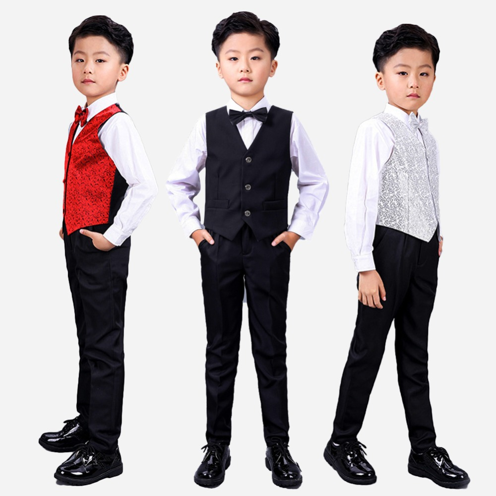 Boys 4 Piece Suit Set Wedding/ Birthday Party Formal Occasion Kid Outfits with Vest + Shirt + Bowtie +Pants brand fashion boy wedding suit gentle baby boys vest shirt pants formal party suit children clothing set formal outfits h101