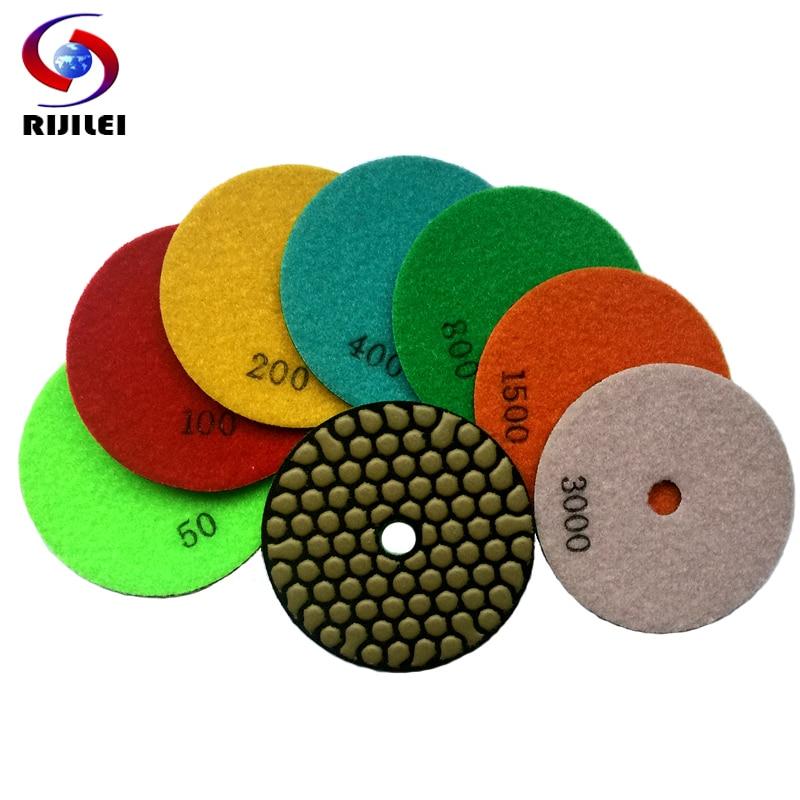 RIJILEI 7db / tétel, 4 hüvelyk / 100 mm-es száraz csiszolópadok, gránit és márvány vagy méhsejt gyémánt rugalmas csiszolókorongok 4GM