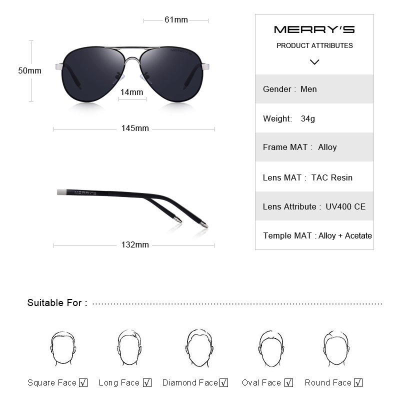 MERRYS Men Classic Pilot Sunglasses HD Polarized Aluminum Driving - Accesorios para la ropa - foto 3