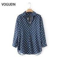 VOGUEIN New Womens Fashion Polka Dot Print 3 4 Sleeve Navy Pullover Blouse Loose Shirt Tops