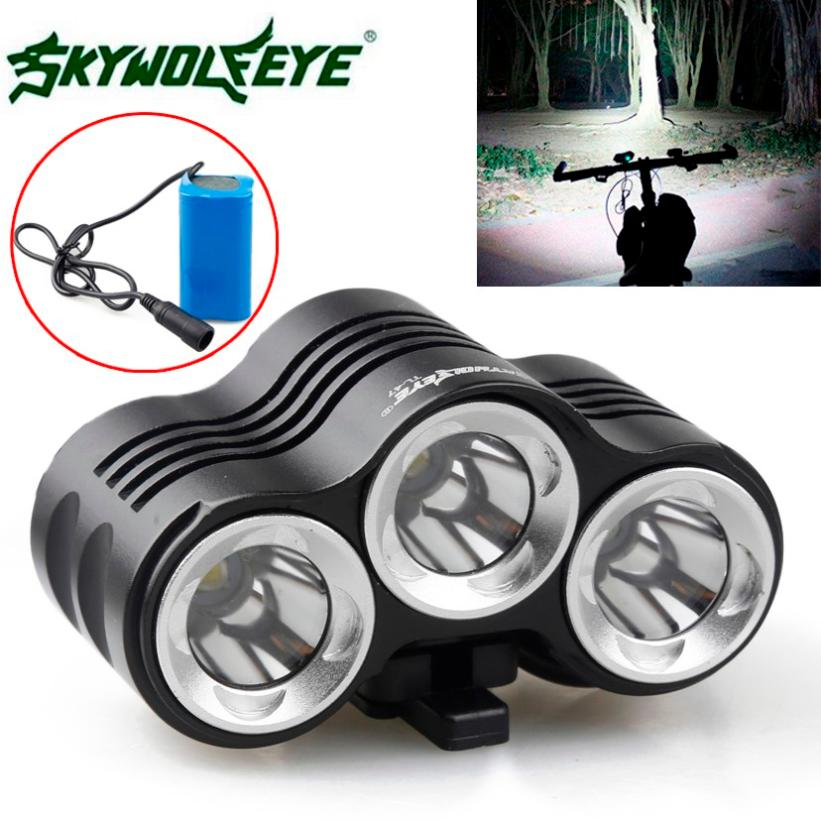 Rehargeable 12000LM Bike 3 x XM-L T6 LED Bicycle Lamp Outdoor Headlight Kit Mount Charger Head Light Cycling Fenerler  012PJ4Rehargeable 12000LM Bike 3 x XM-L T6 LED Bicycle Lamp Outdoor Headlight Kit Mount Charger Head Light Cycling Fenerler  012PJ4