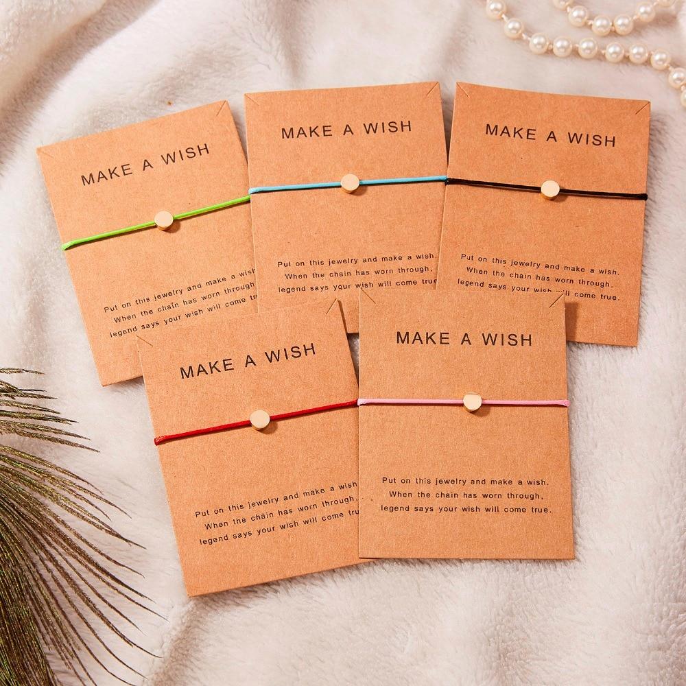 Регулируемый браслет с бумажными карточками в форме бабочки, звезды, короны, Круглый тканый браслет ручной работы, Простые Модные женские ювелирные изделия, подарки