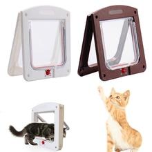 4 способа запираемый собака котенка двери безопасности лоскут двери Пластик животных для маленьких животных, кошек, щенков, клапаном на магнитный собаки ворота расходные материалы